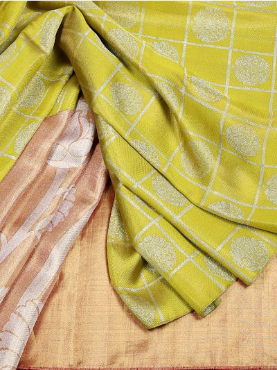 Vivaha Goddess Green and Bronze Pure Kanchipuram Silk Saree