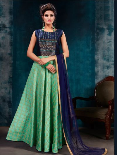 Kyathi Silk Jacquard Embroidery Readymade Anarkali Salwar Kameez - MFB6270947