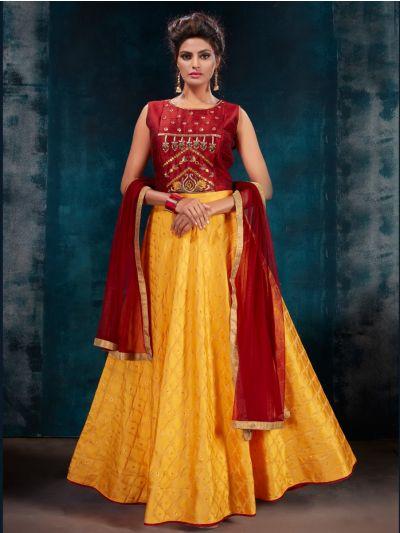 Kyathi Silk Jacquard Embroidery Readymade Anarkali Salwar Kameez - MFB6270944