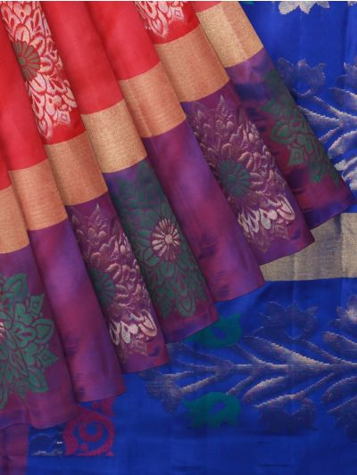 Pure Soft Silk Coral Saree