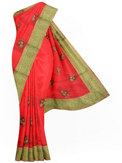 Sahithyam Exclusive Stone Work Sana Silk With Patch Work Saree - MIC4193199