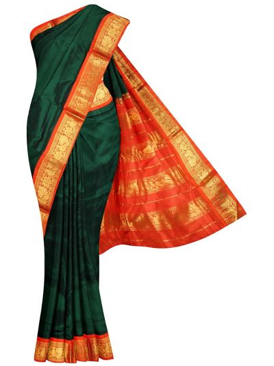NEC2133653 - Handloom Pure Silk Nine Yards Saree