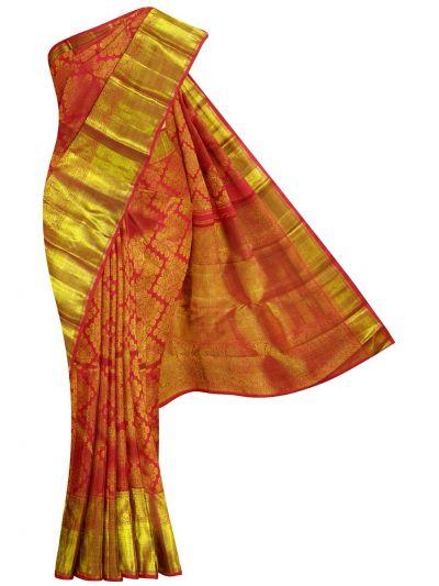 EKM-NHA4317992 - Vivaha Goddess Red Kanchipuram Pure Silk Saree