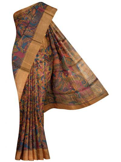 Fancy Pure Tussar Silk Printed Saree - OED6999663