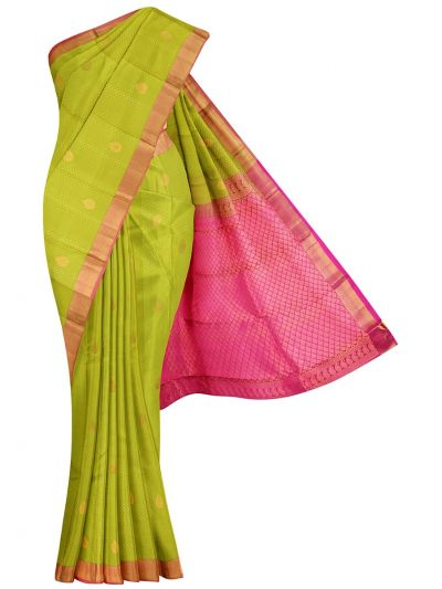 Traditional Plain Embossed Green Silk Saree - OED7097238