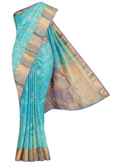 Traditional Jari Butta Blue Silk Saree - OFB7954668
