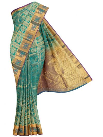Traditional Jari Butta Green Silk Saree - OFB7954685