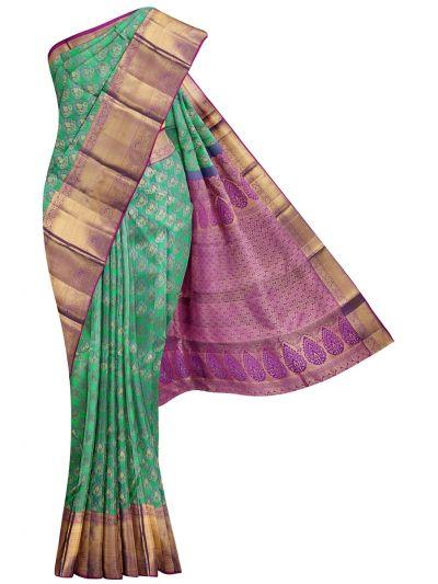Vivaha Kanjipuram Bridal Green Pure Silk Saree - OFB8157069