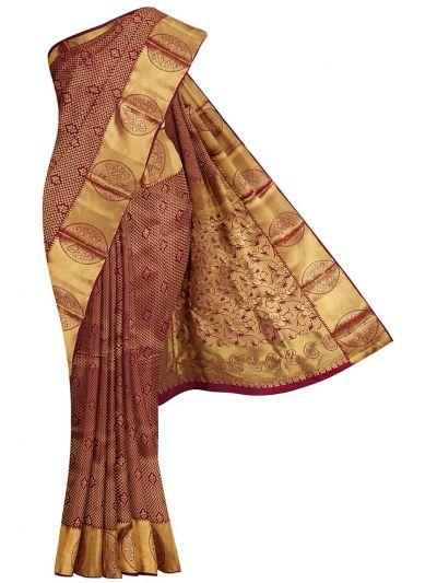 Vivaha Wedding Jari Butta Maroon Silk Saree - OFB8540122