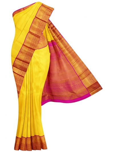 Vivaha Yellow Wedding Pure Kanchipuram Silk Saree - OFC9238087