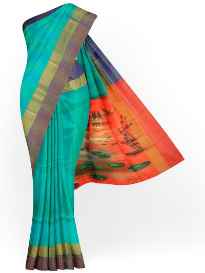 MED8115641 - Kanmanie Painted Design Soft Silk Saree