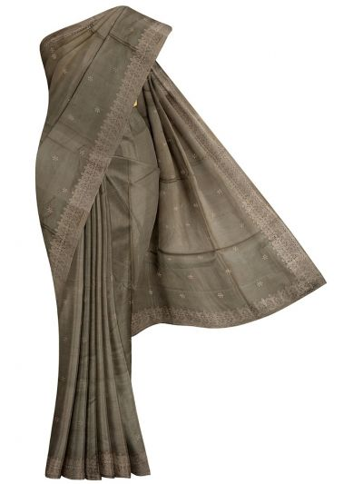 Kyathi Exclusive Thread Embroidery Tussar Silk Saree - MFB6637637