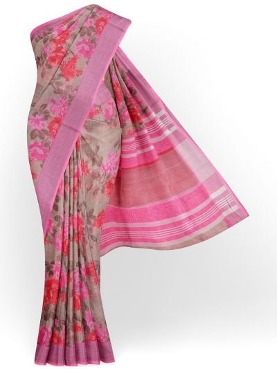 MIB3584397-Khyathi Linen Cotton Flower Printed Design Saree