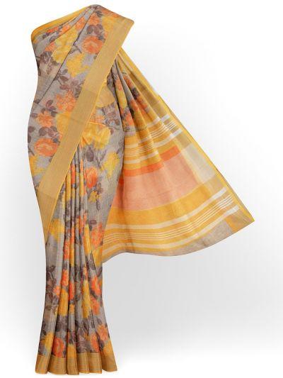 MIB3584398-Khyathi Linen Cotton Flower Printed Design Saree