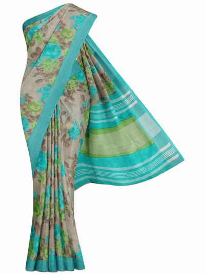 MIB3584399-Khyathi Linen Cotton Flower Printed Design Saree