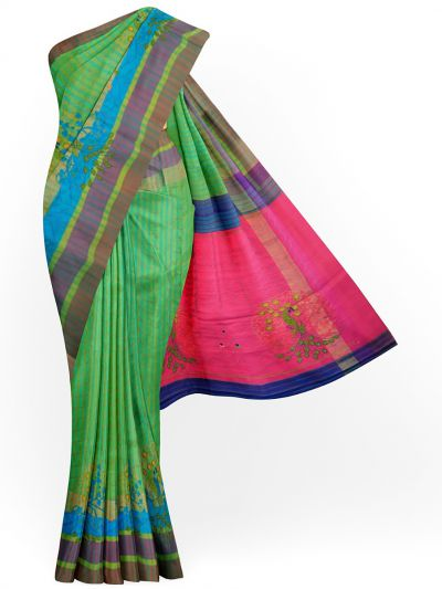 MJC7619267-Embroidery Designs Work Soft Silk Saree