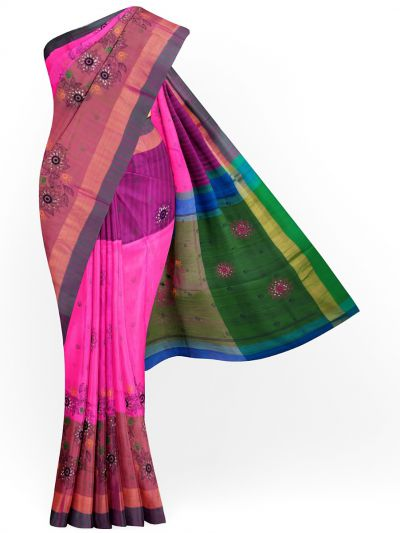 MJC7619270-Embroidery Designs Work Soft Silk Saree