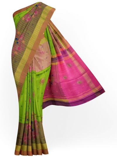 MJC7619272-Embroidery Designs Work Soft Silk Saree