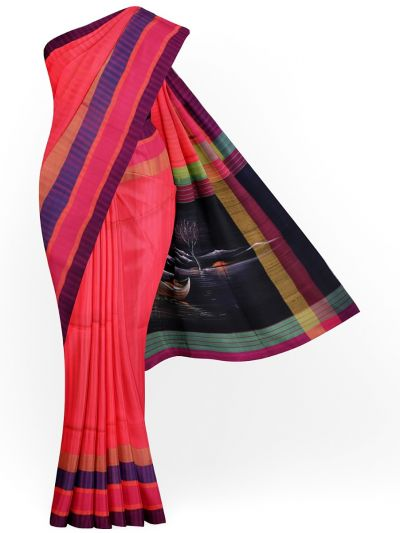 MJC7619278-Kanmanie Handpainted Soft Silk Saree