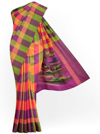 MJC7619280-Kanmanie Handpainted Soft Silk Saree