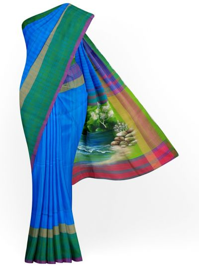 MJC7619281-Kanmanie Handpainted Soft Silk Saree