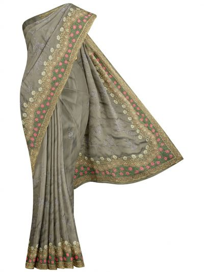 MJD8389351-Partywear Synthetic Georgette Embroidery Work Designs Saree
