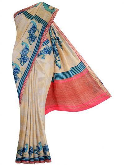 Kathana Exclusive Printed Tussar Silk Saree - MDC2242253