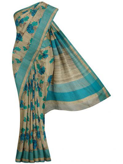 Kyathi Printed Dupion Pure Tussar Silk Saree - MFB3431027