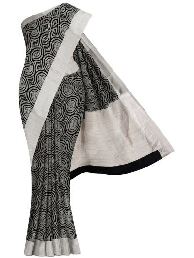 MFB4836395-Fancy DuPion Silver Jari Border Saree