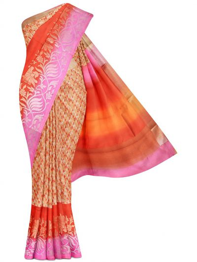 MFB7165090 - Fancy Dupion Printed Multi Border Silk Saree