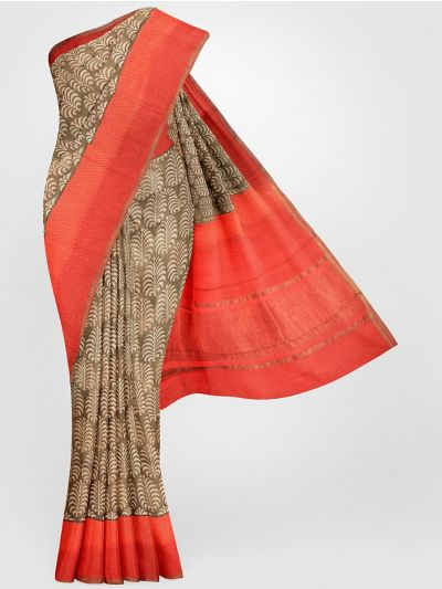 MGB8355686-Tussar Printed Design Silk Saree