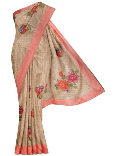 MGB8789500-Flower Design Dupion Tussar Silk Saree