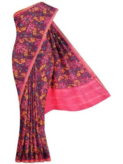 Sahithyam Exclusive Printed Linen Cotton Saree - MGC9667030