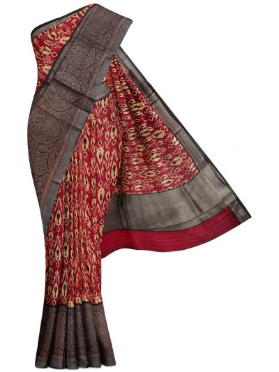 Sahithyam Exclusive Chanderi Printed and Antique Zari Border Saree - MHC1975290