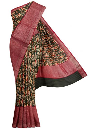 Sahithyam Exclusive Chanderi Printed and Antique Zari Border Saree - MHC1975292