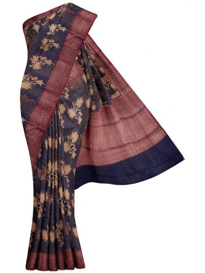 Sahithyam Exclusive Chanderi Printed and Antique Zari Border Saree - MHC1975298