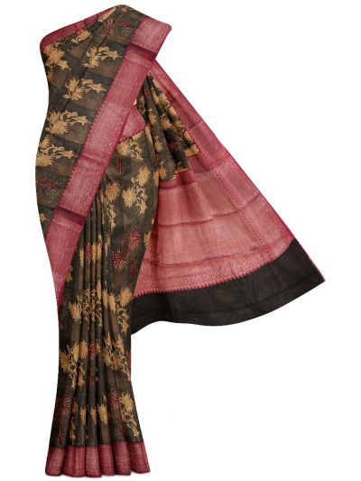Sahithyam Exclusive Chanderi Printed and Antique Zari Border Saree - MHC1975299