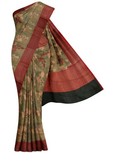 Sahithyam Exclusive Chanderi Printed and Antique Zari Border Saree - MHC1975300