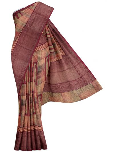 Sahithyam Exclusive Chanderi Printed and Antique Zari Border Saree - MHC1975302
