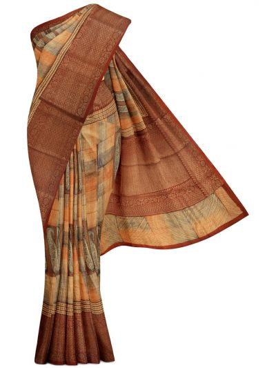 Sahithyam Exclusive Chanderi Printed and Antique Zari Border Saree - MHC1975303