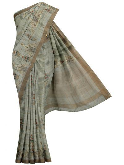 Nadhira Exclusive Embroidered Semi Jute Saree - MKD0007277