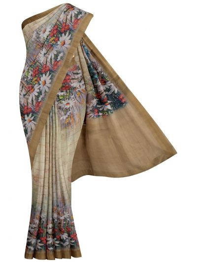 Nadhira Exclusive Embroidered Semi Jute Saree - MKD0007300