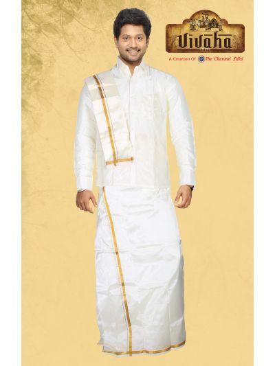 Vivaha Art Silk Dhoti,Shirt and Angavastram