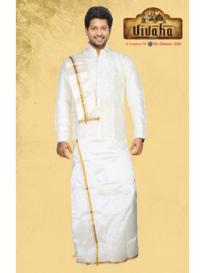 Vivaha Art Silk Dhoti,Shirt and Angavastram