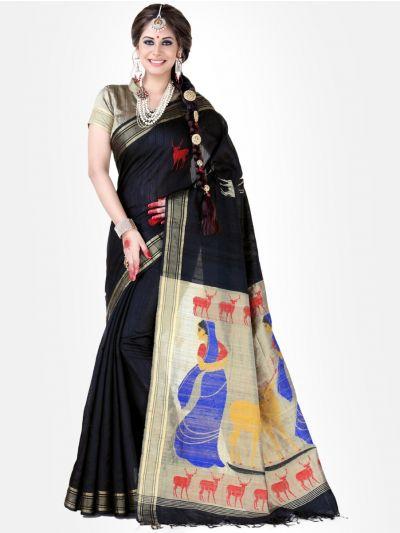 Black Color Jute Silk Saree