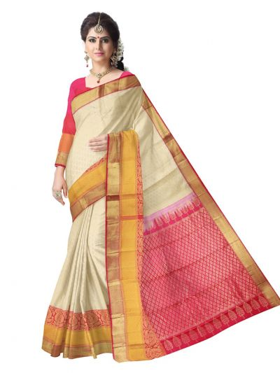 Vivaha Kanchipuram Off White Wedding Sillk Saree