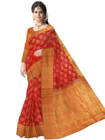 Vivaha Kanchipuram Orange Wedding Sillk Saree