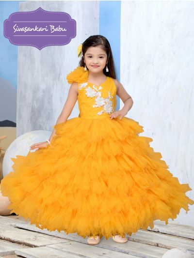 Sivasankari Babu Exclusive Girls Net Frock With Patch Work - MGD0957183