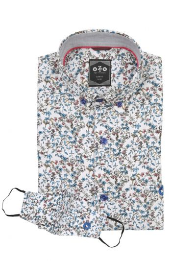 ZF Men's Readymade Casual Cotton Shirt With Matching Color Mask - NGB1035007-EKM