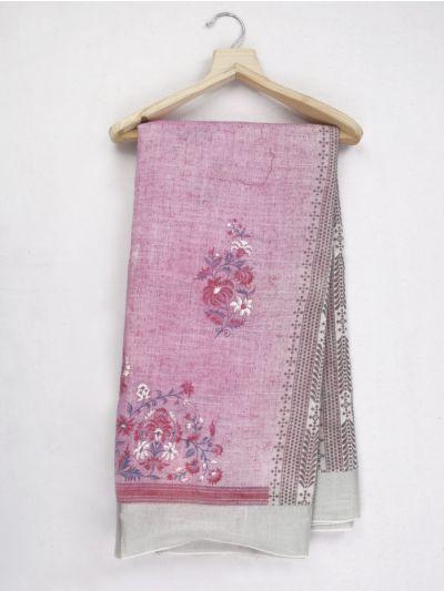 Kathana Fancy Printed Linen Saree - MID4813768